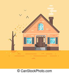 Vector flat style illustration of house in autumn.