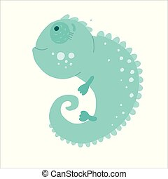 Vector flat style illustration of iguana. Icon for web. Isolated on white background.