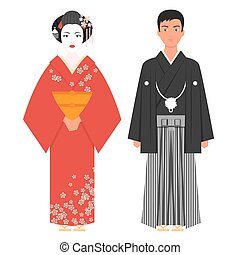 Vector flat style illustration of Japanese traditional...