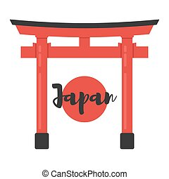 flat style illustration of Japanese traditional gate. -...