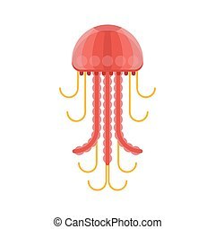Vector flat style illustration of jelly fish. Icon for web. ...