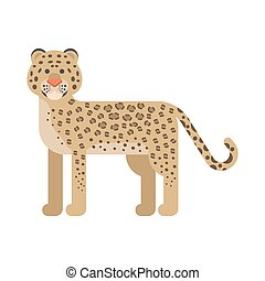 Vector flat style illustration of leopard.