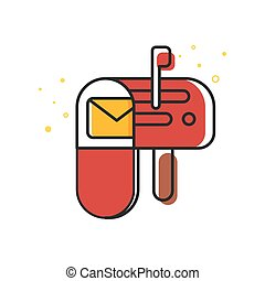 Vector flat style illustration of mailbox.