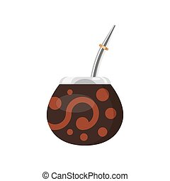 Vector flat style illustration of Mate in a traditional mate cup.