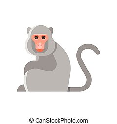 Vector flat style illustration of monkey.