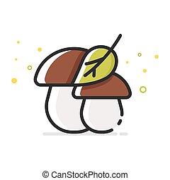 Vector flat style illustration of mushrooms.
