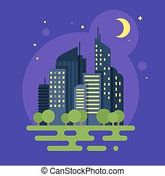 Vector flat style illustration of night city. Moon and buildings.
