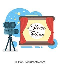 """Vector flat style illustration of old cinema with inscription """"Show time""""."""