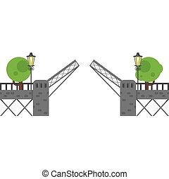 flat style illustration of open gate. Isolated on white background.