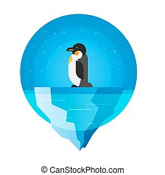 Vector flat style illustration of penguin.