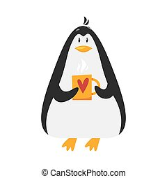 Vector flat style illustration of penguin with cup of coffee