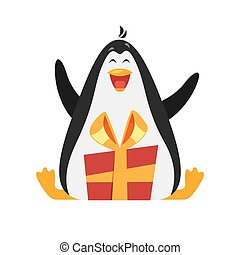 Vector flat style illustration of penguin with gift.