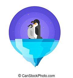 Vector flat style illustration of penguins. Isolated on white background.