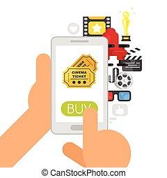 online buying of cinema tickets.