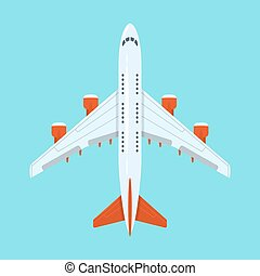 Vector flat style illustration of planes in the sky.