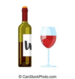 Vector flat style illustration of red wine bottle with wine glass.