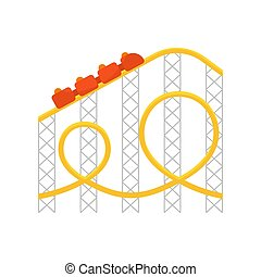 Vector flat style illustration of roller coaster.Icon for web