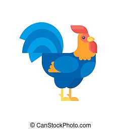 Vector flat style illustration of rooster.