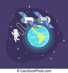 Vector flat style illustration of space station and astronaut in outer space.
