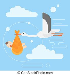 Vector flat style illustration of stork caring a newborn baby in the sky.