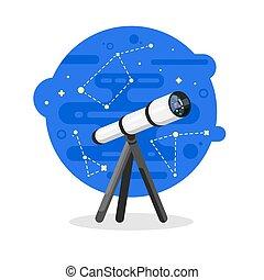 Vector flat style illustration of telescope