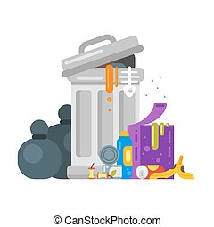 Vector flat style illustration of trash. Spoiled food.