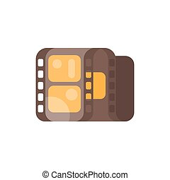 Vector flat style illustration of vintage old cinema clip. Isolated on white background.