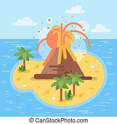 Vector flat style illustration of volcano on tropical...