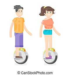 Vector flat style illustration of young man and woman riding an battery-powered electric unicycle scooter.