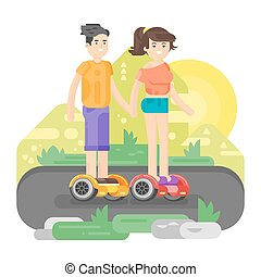 Vector flat style illustration of young man and woman riding an battery-powered electric vehicle in a park.