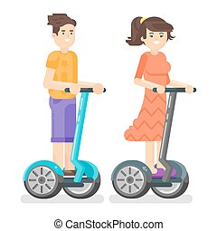 Vector flat style illustration of young man and woman riding an two-wheeled vehicle.
