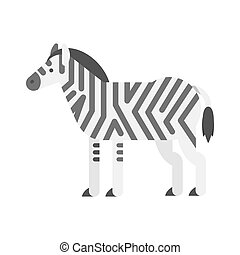 Vector flat style illustration of zebra.