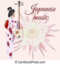 Vector flat style japanese music template - Vector japanese...