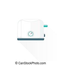 vector flat style metal white kitchen toaster illustration