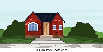 Vector flat style red one floor house