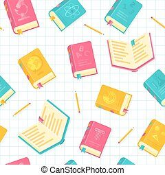 Vector Flat Style School Books Illustration Seamless Pattern