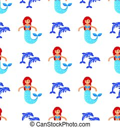 Vector flat style seamless pattern with mermaid