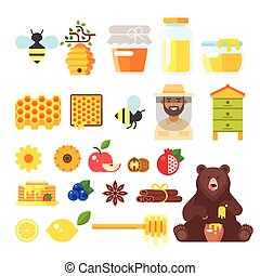 beekeeping and honey icons