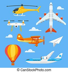 Vector flat style set of colorful air transport.