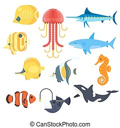 Vector flat style set of exotic fish. Icon for web.