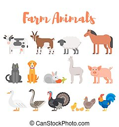 Vector flat style set of farm animals.