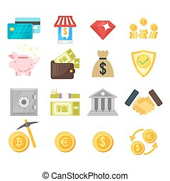 Vector flat style set of finance icons.
