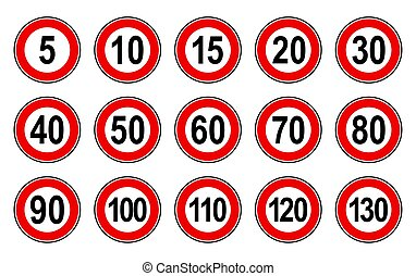 Vector flat style set of generic speed limit signs with black number and red circle