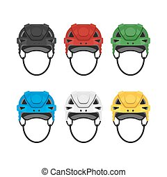 Vector flat style set of hockey helmet. Icon for web.