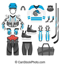 Vector flat style set of hockey player