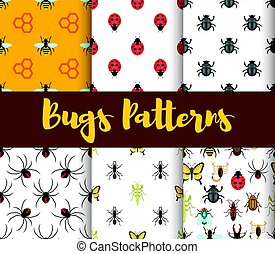 Vector flat style set of patterns with bug