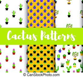 Vector flat style set of patterns with colorful cactus.