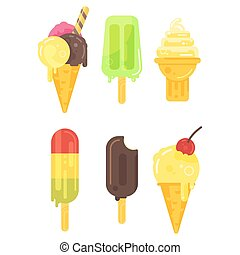 Vector flat style set of tasty colorful ice cream icon.