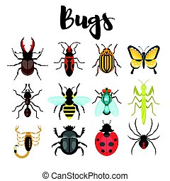 Vector flat style set of various colorful bugs.