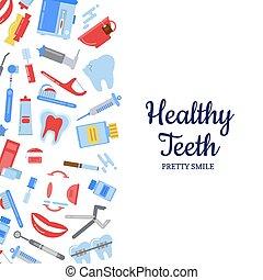 Vector flat style teeth hygiene background